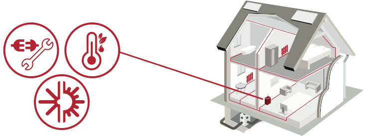 Illustrazione impianto termico a biomassa